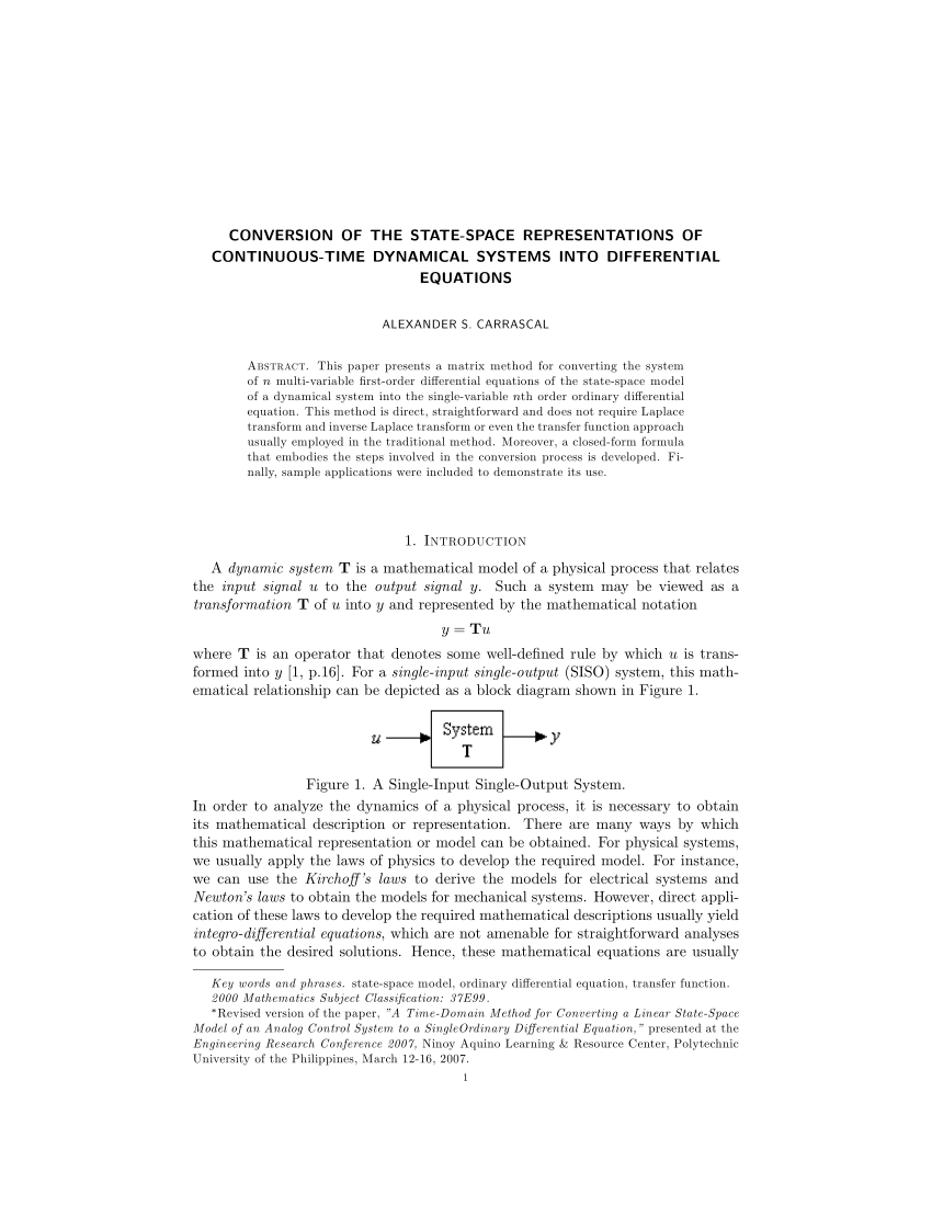 hight resolution of  pdf conversion of the state space representations of continuous time dynamical systems into differential equations