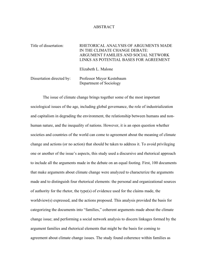 PDF Rhetorical Analysis Of Arguments Made In The Climate Change