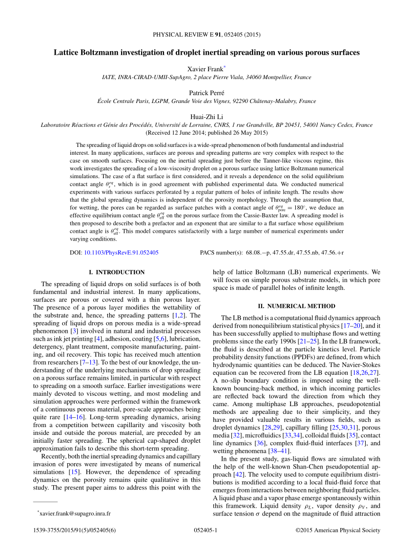 medium resolution of droplet spreading on a porous surface a lattice boltzmann study request pdf