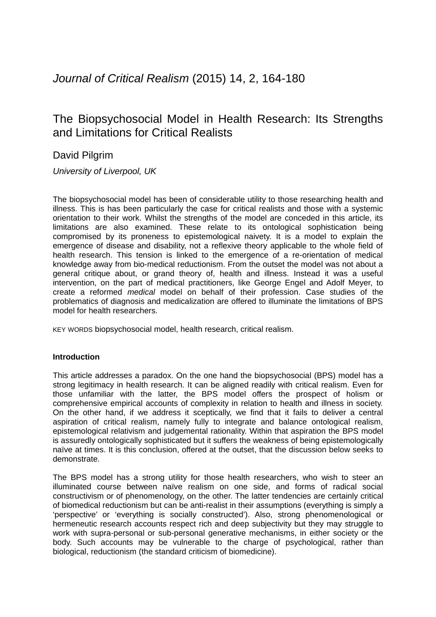 PDF The Biopsychosocial Model in Health Research Its
