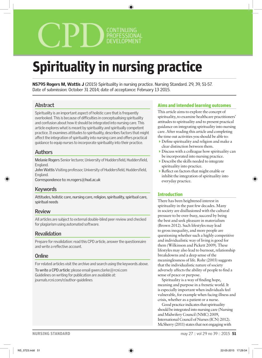Pdf Spirituality In Nursing Practice