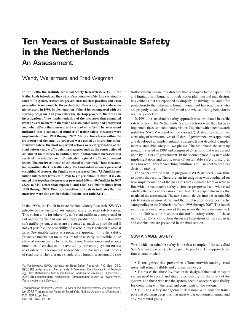 PDF Ten Years Of Sustainable Safety In The Netherlands An Assessment