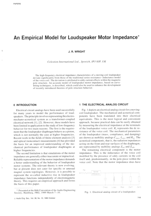 small resolution of voice coil impedance as a function of frequency and displacement mark dodd request pdf