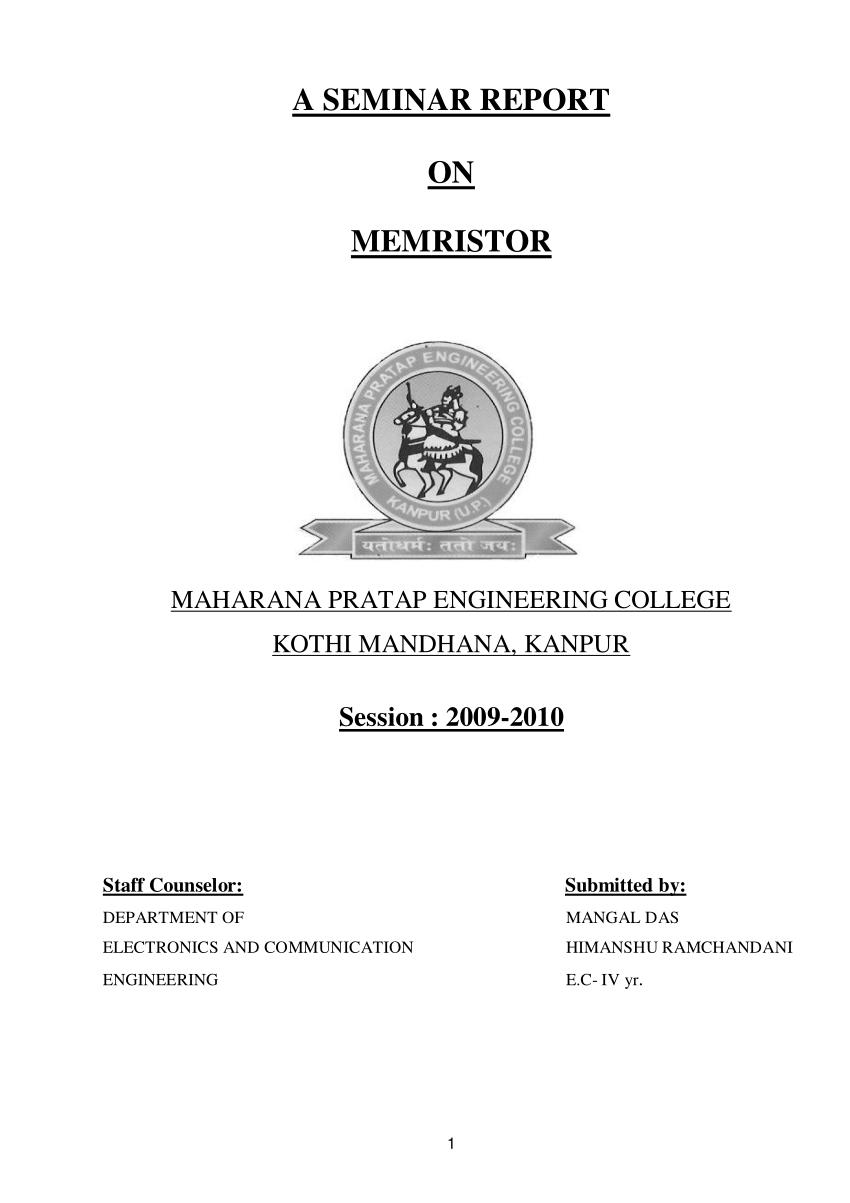 (PDF) Seminar Report on Memristor