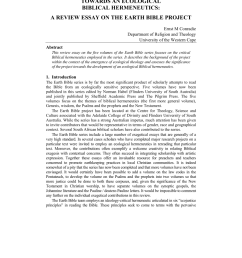 pdf towards an ecological biblical hermeneutics a review essay on the earth bible project [ 850 x 1203 Pixel ]