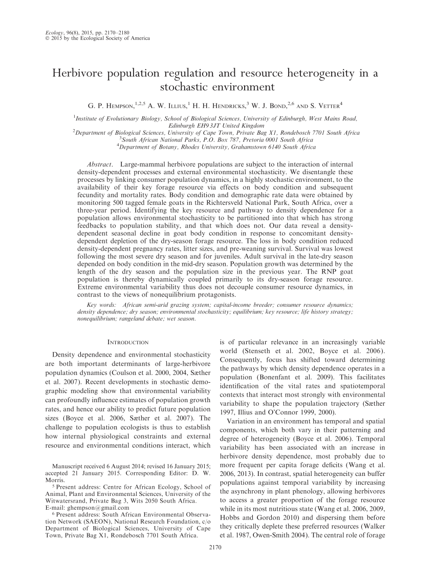 (PDF) Herbivore population regulation and resource