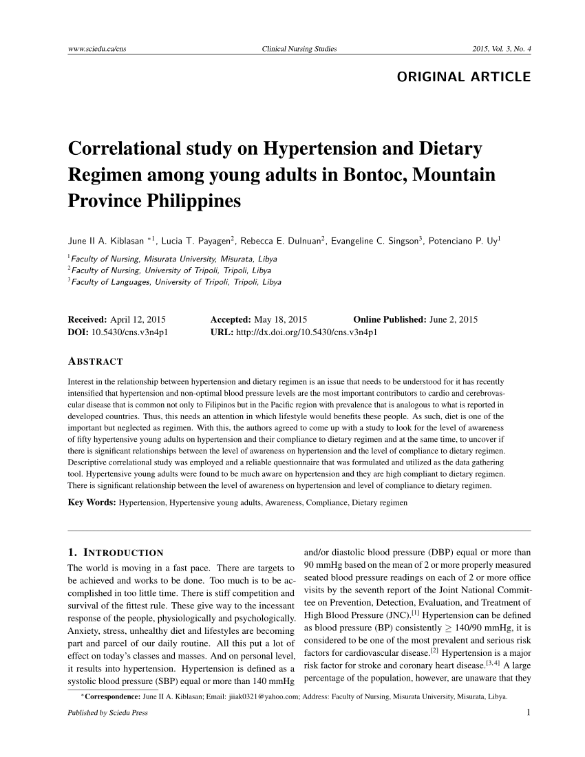 Correlational Study On Hypertension And PDF Download Available