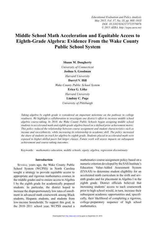 small resolution of PDF) Middle School Math Acceleration and Equitable Access to Eighth-Grade  Algebra: Evidence From the Wake County Public School System