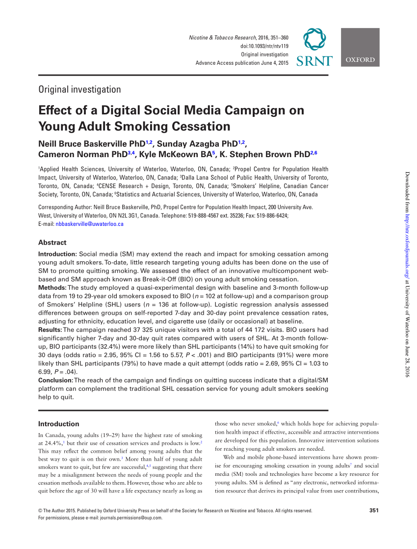 Effect Of A Digital Social Media Campaign PDF Download Available