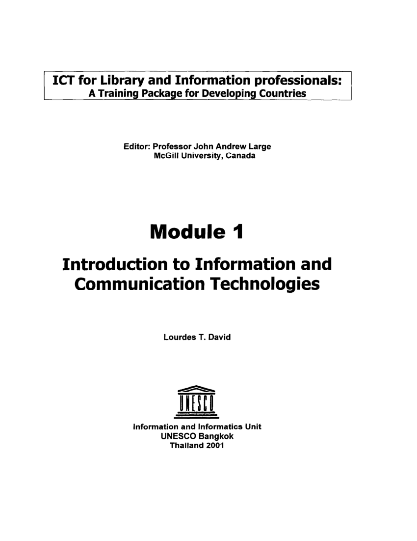 hight resolution of PDF) Introduction to information and communication technologies - Module 1