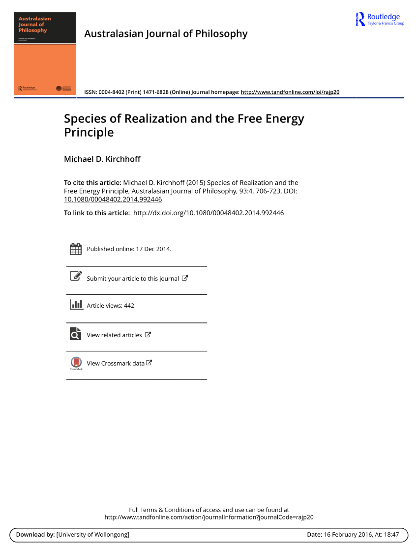 (PDF) Species of Realization and the Free Energy Principle