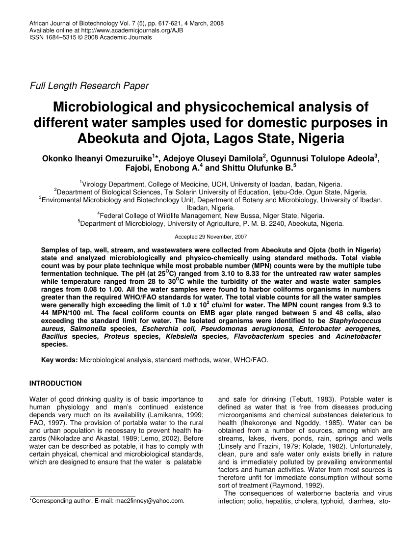 PDF Microbiological And Physicochemical Analysis Of Different Water