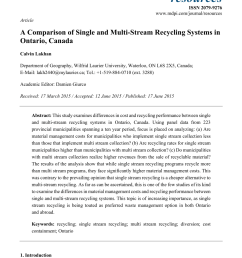 pdf a comparison of single and multi stream recycling systems in ontario canada [ 850 x 1203 Pixel ]