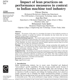 pdf impact of lean practices on performance measures in context to indian machine tool industry [ 850 x 1173 Pixel ]