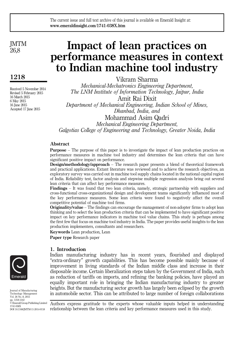 medium resolution of  pdf impact of lean practices on performance measures in context to indian machine tool industry