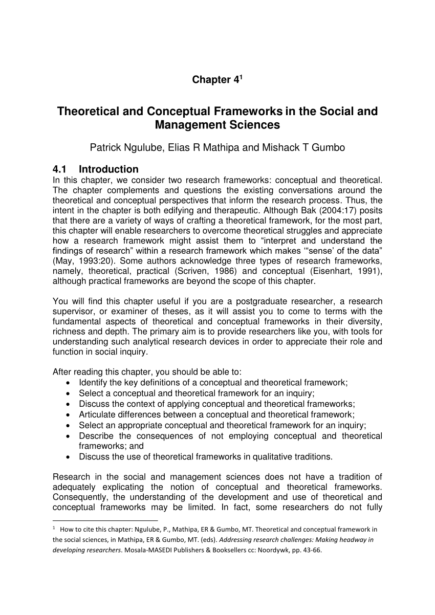 PDF Theoretical And Conceptual Frameworks In The Social And