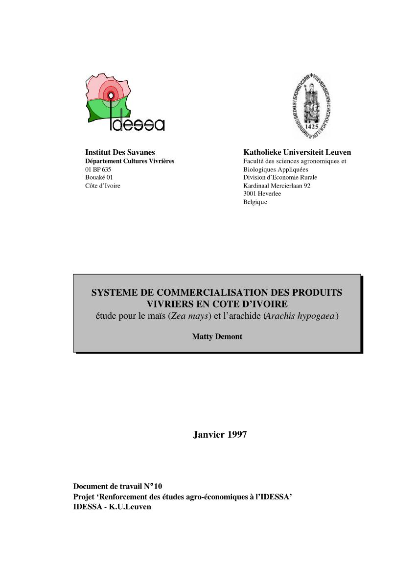 sofaco cote d ivoire c shaped sofa uk pdf systeme de commercialisation des produits vivriers en etude pour le mais zea mays et l arachide arachis hypogaea