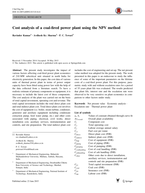 small resolution of  pdf cost analysis of a coal fired power plant using the npv method