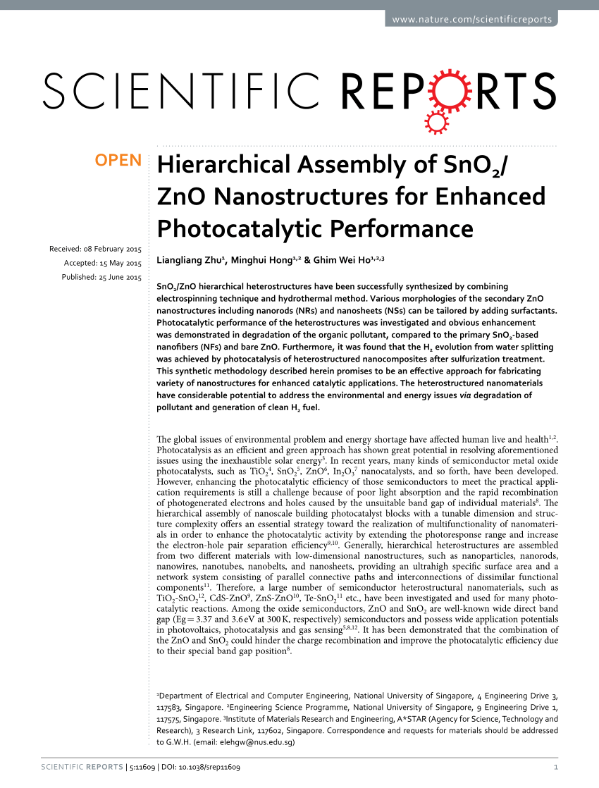 medium resolution of  pdf hierarchical assembly of sno2 zno nanostructures for enhanced photocatalytic performance