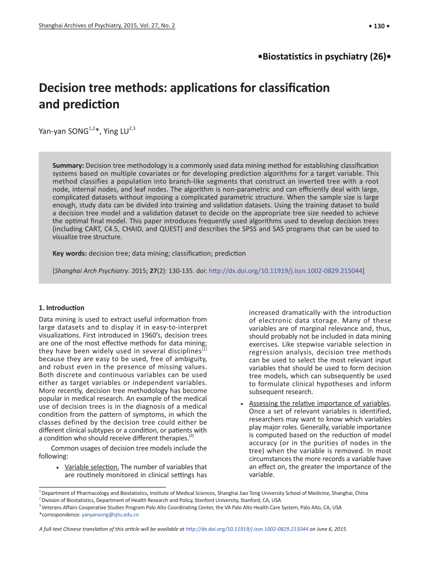 (PDF) Decision tree methods: applications for