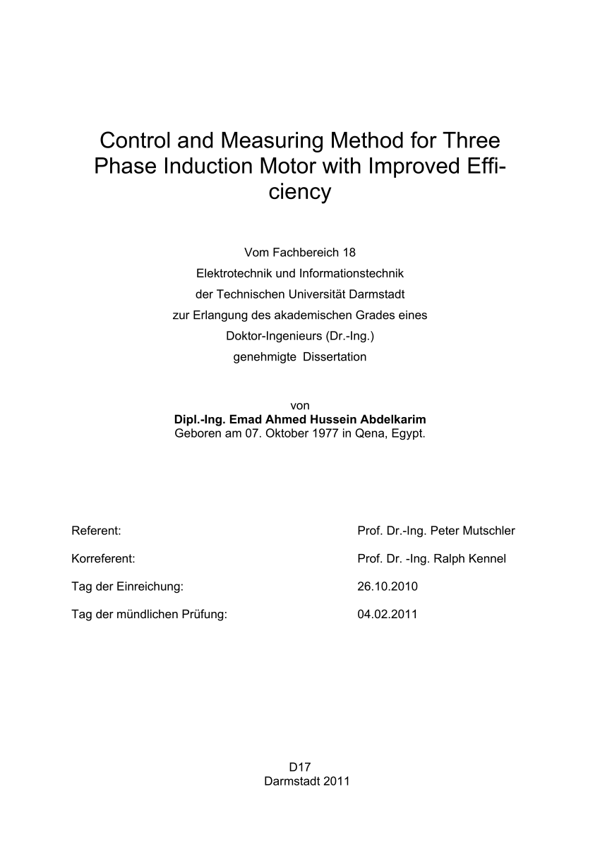 hight resolution of  pdf control and measuring method for three phase induction motor with improved efficiency