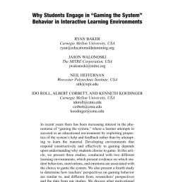 "PDF) Why Students Engage in ""Gaming the System [ 1285 x 850 Pixel ]"