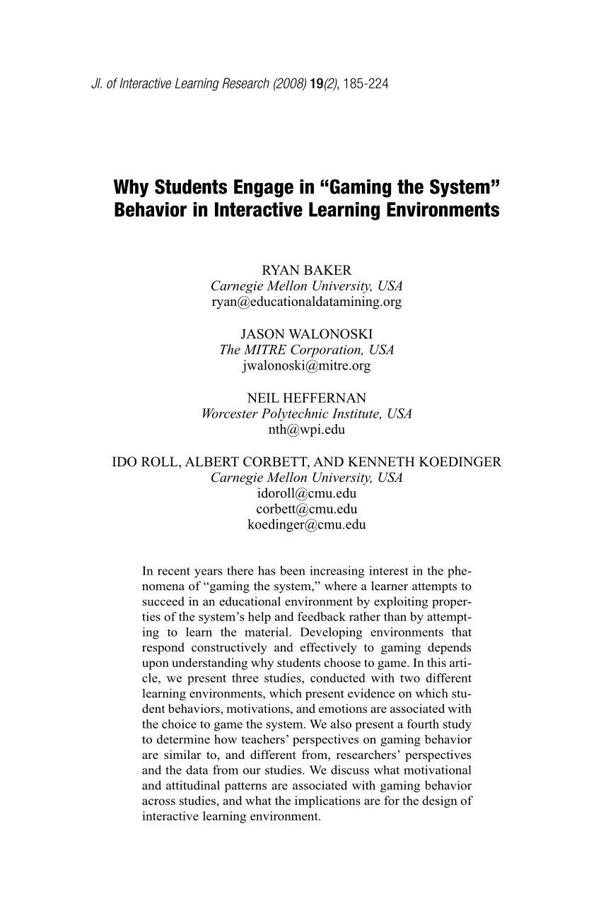 "medium resolution of PDF) Why Students Engage in ""Gaming the System"