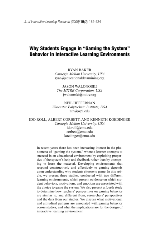 "small resolution of PDF) Why Students Engage in ""Gaming the System"