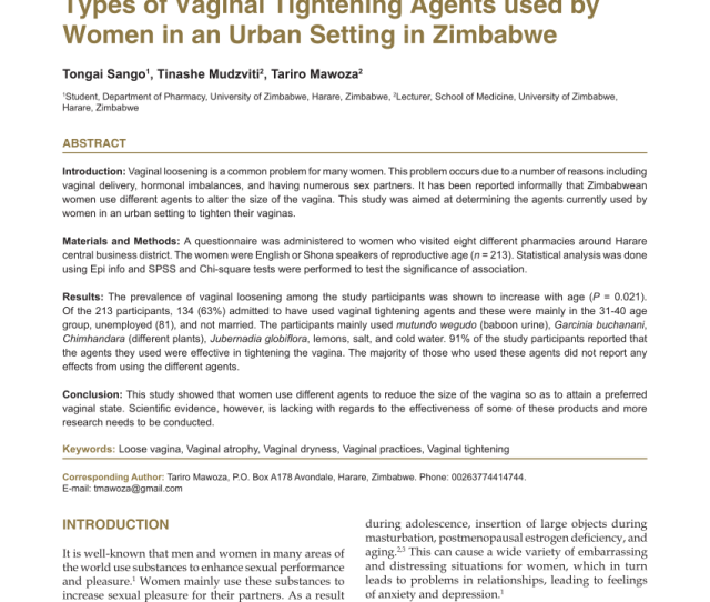Pdf A Cross Sectional Study To Determine The Types Of Vaginal Tightening Agents Used By Women In An Urban Setting In Zimbabwe