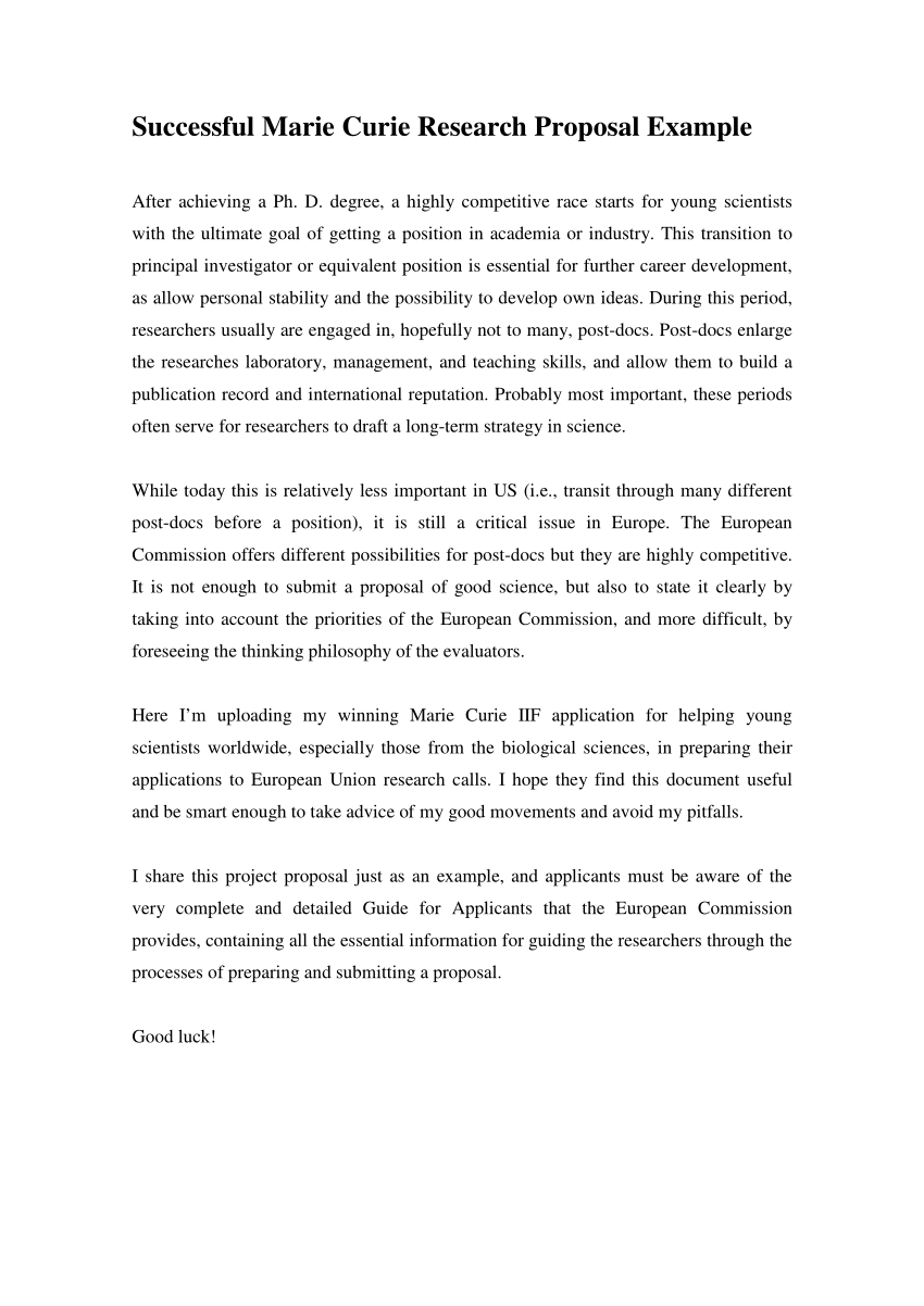 PDF Successful Marie Curie Research Proposal Example