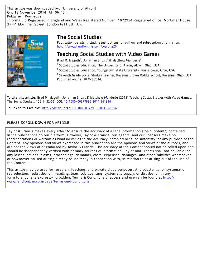 medium resolution of PDF) Teaching Social Studies with Video Games