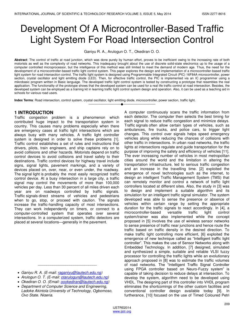 hight resolution of  pdf development of a microcontroller based traffic light system for road intersection control