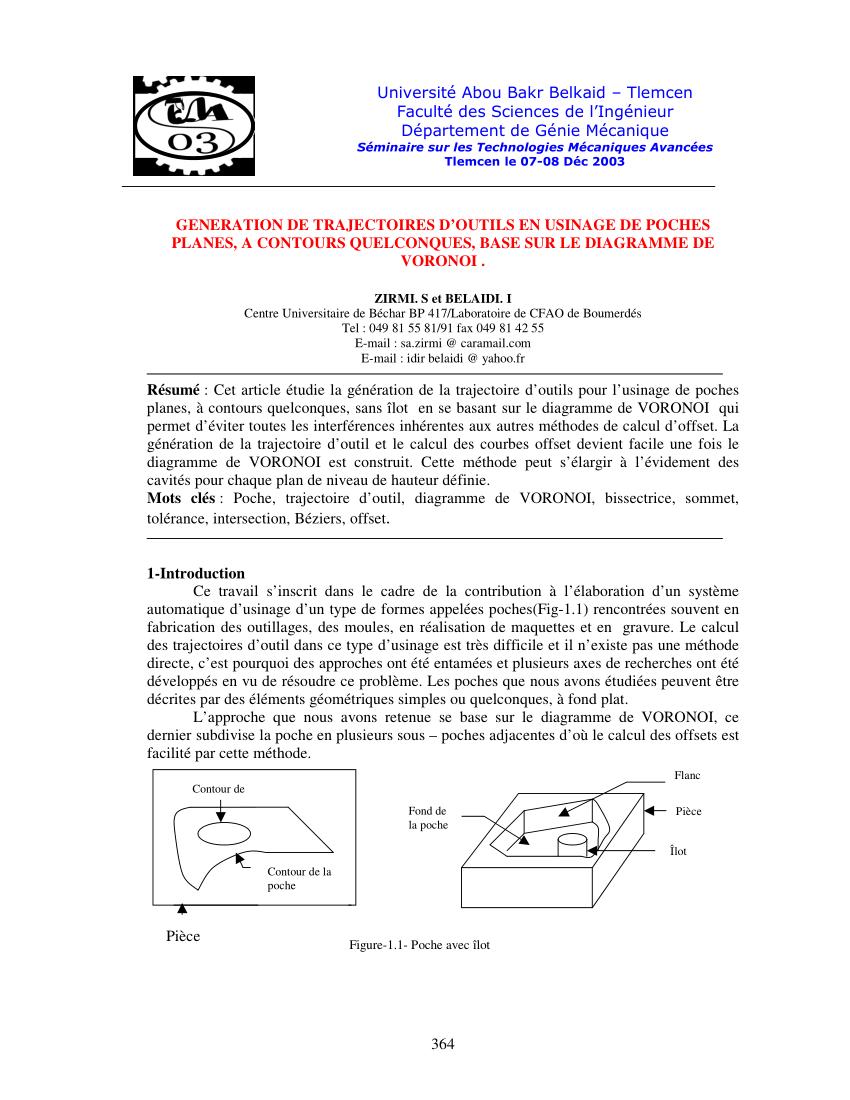 hight resolution of  pdf generation de trajectoires d outils en usinage de poches planes a contours quelconques base sur le diagramme de voronoi