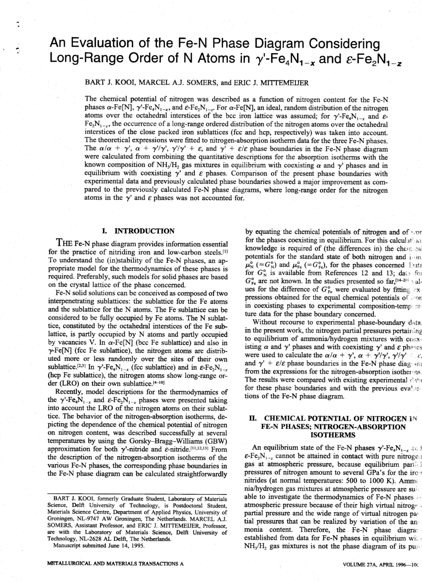 hight resolution of  pdf an evaluation of the fe n phase diagram considering long range order of n atoms in fe4n1 x and fe2n1 z