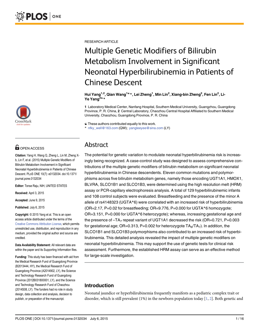 (PDF) Multiple Genetic Modifiers of Bilirubin Metabolism Involvement in Significant Neonatal Hyperbilirubinemia in Patients of Chinese Descent