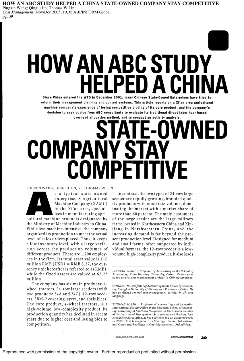 """(PDF) """"How an Activity-Based Costing Study Helped a China"""