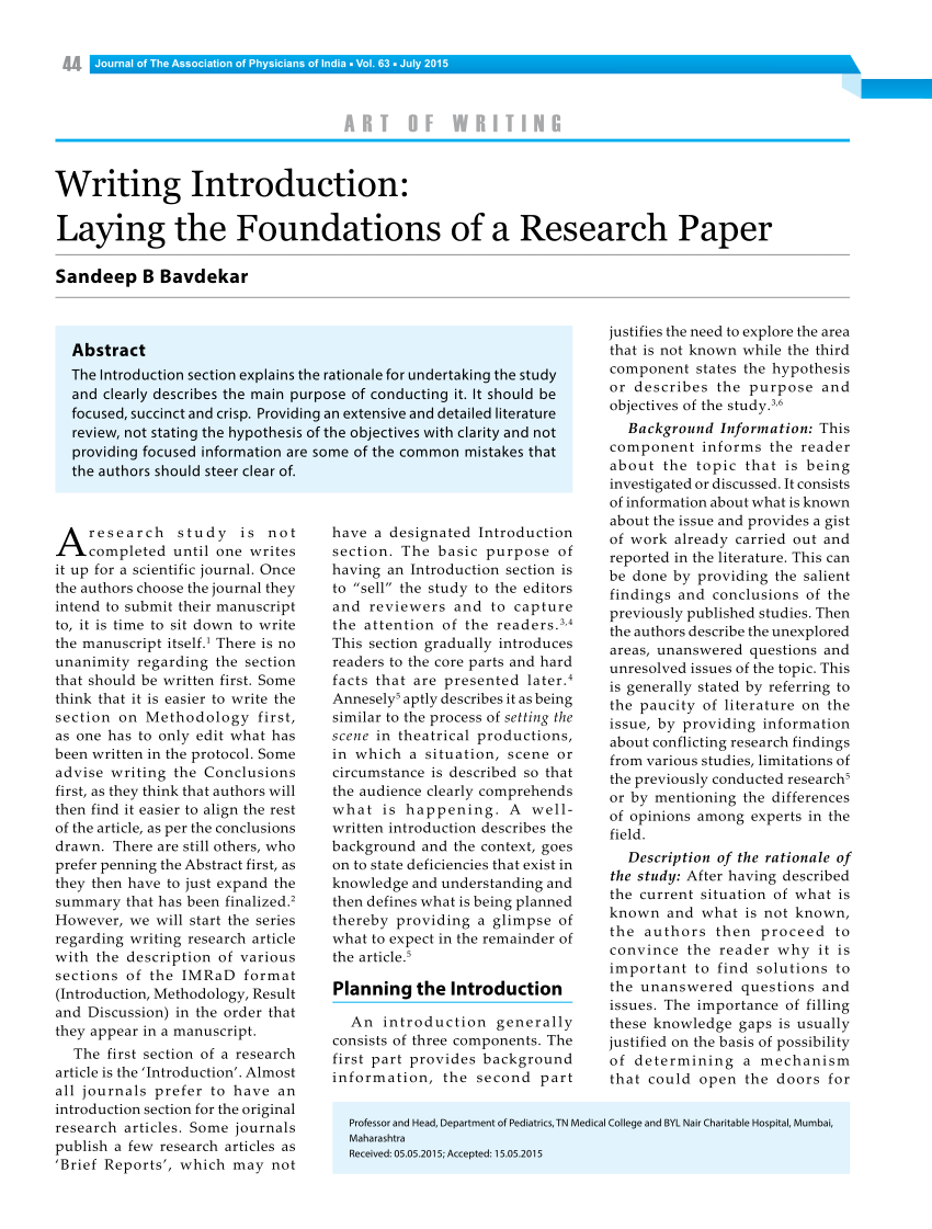 PDF Writing Introduction Laying The Foundations Of A Research Paper