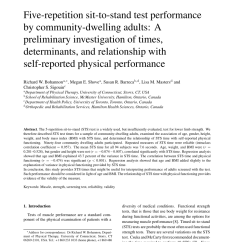Minimal Chair Height Stand Test Best For Baby Nursery Pdf Five Repetition Sit To Performance By Community Dwelling Adults A Preliminary Investigation Of Times Determinants And Relationship With