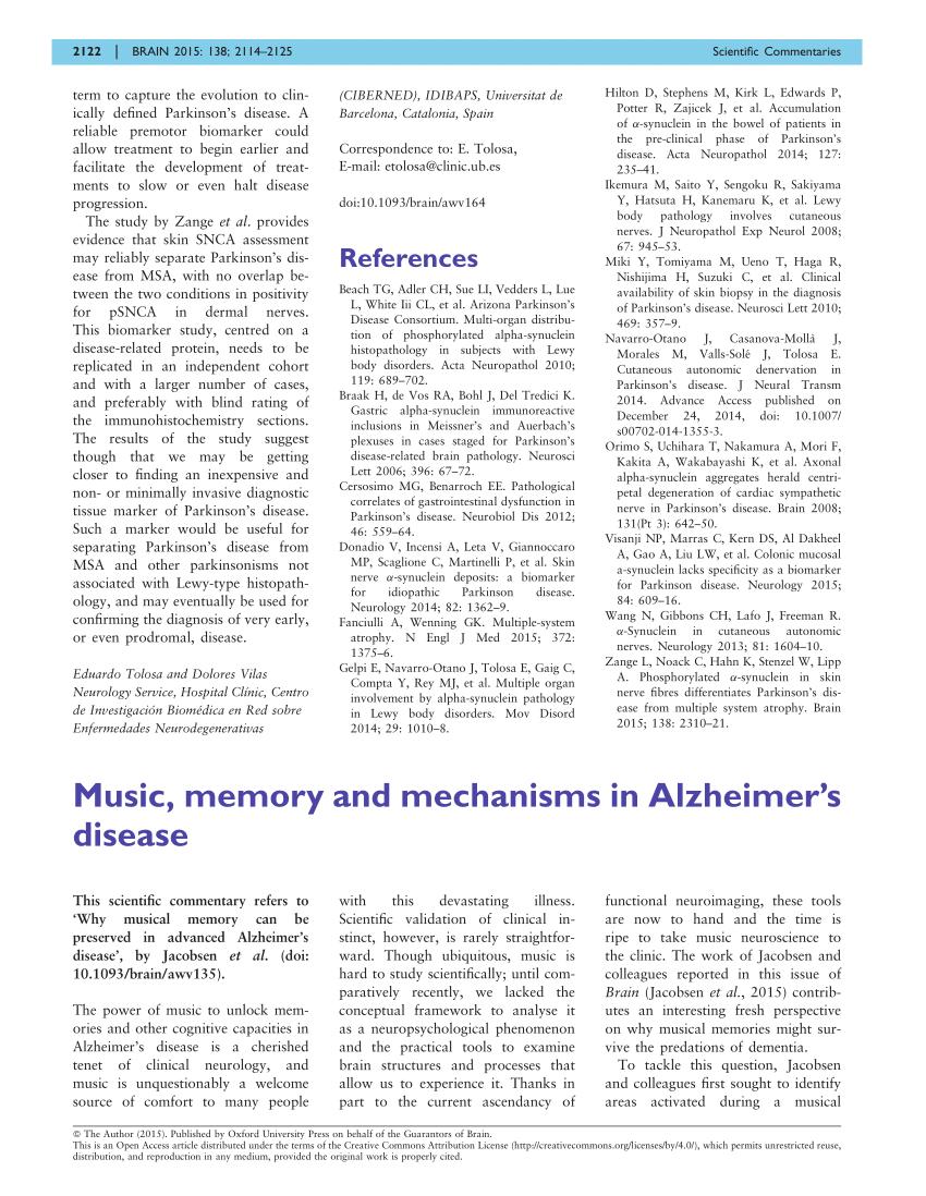 (PDF) Music, memory and mechanisms in Alzheimer's disease