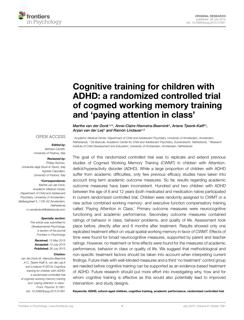 Cognitive Training For Children With PDF Download Available