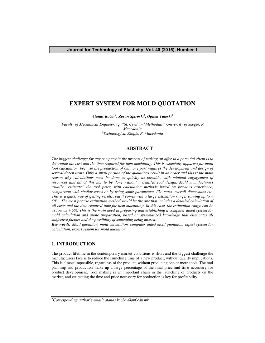 (Pdf) Expert System For Mold Quotation