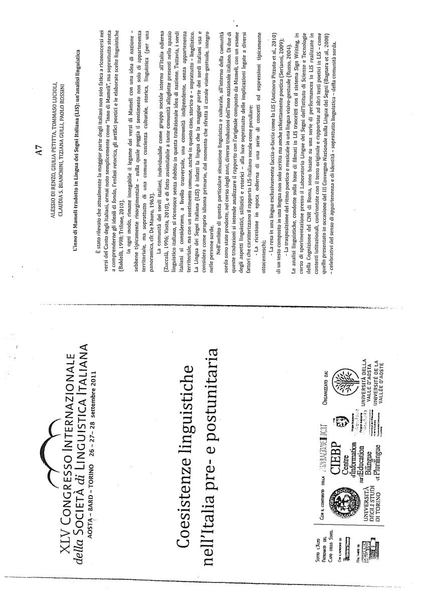 (PDF) L'Inno di Mameli tradotto in Lingua dei Segni