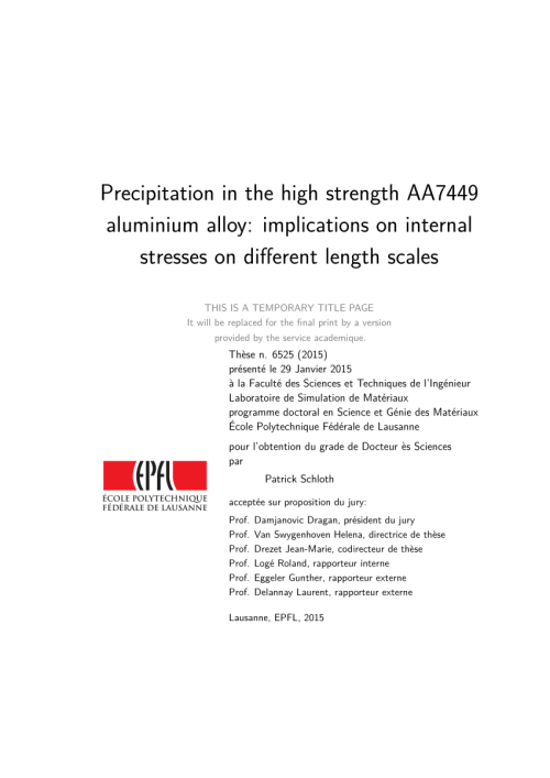 small resolution of  pdf precipitation in the high strength aa7449 aluminium alloy implications on internal stresses on different length scales