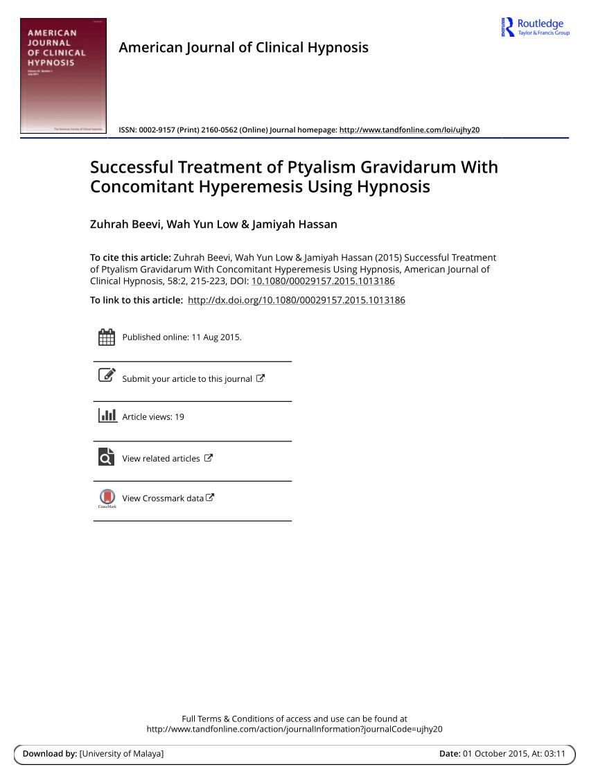 (PDF) Successful Treatment of Ptyalism Gravidarum With ...