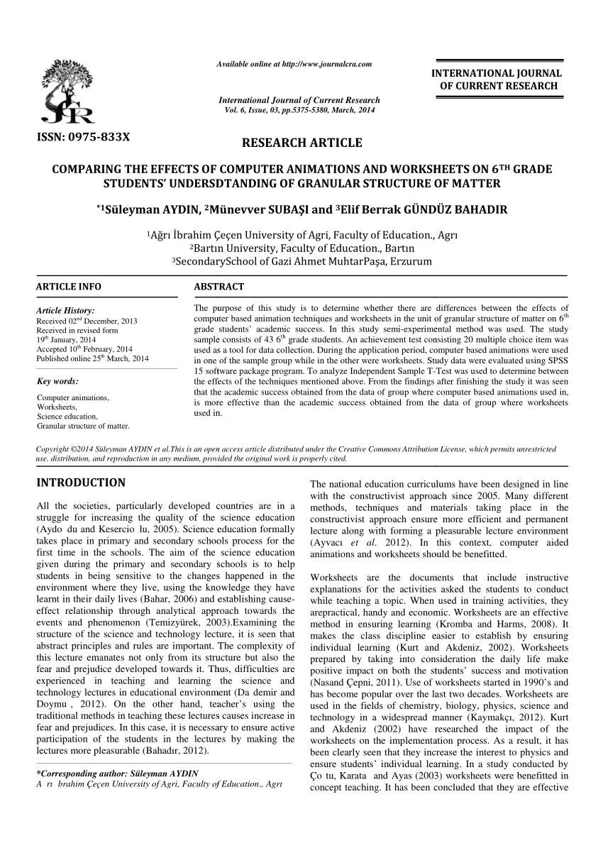 medium resolution of PDF) COMPARING THE EFFECTS OF COMPUTER ANIMATIONS AND WORKSHEETS ON 6 TH  GRADE STUDENTS' UNDERSDTANDING OF GRANULAR STRUCTURE OF MATTER