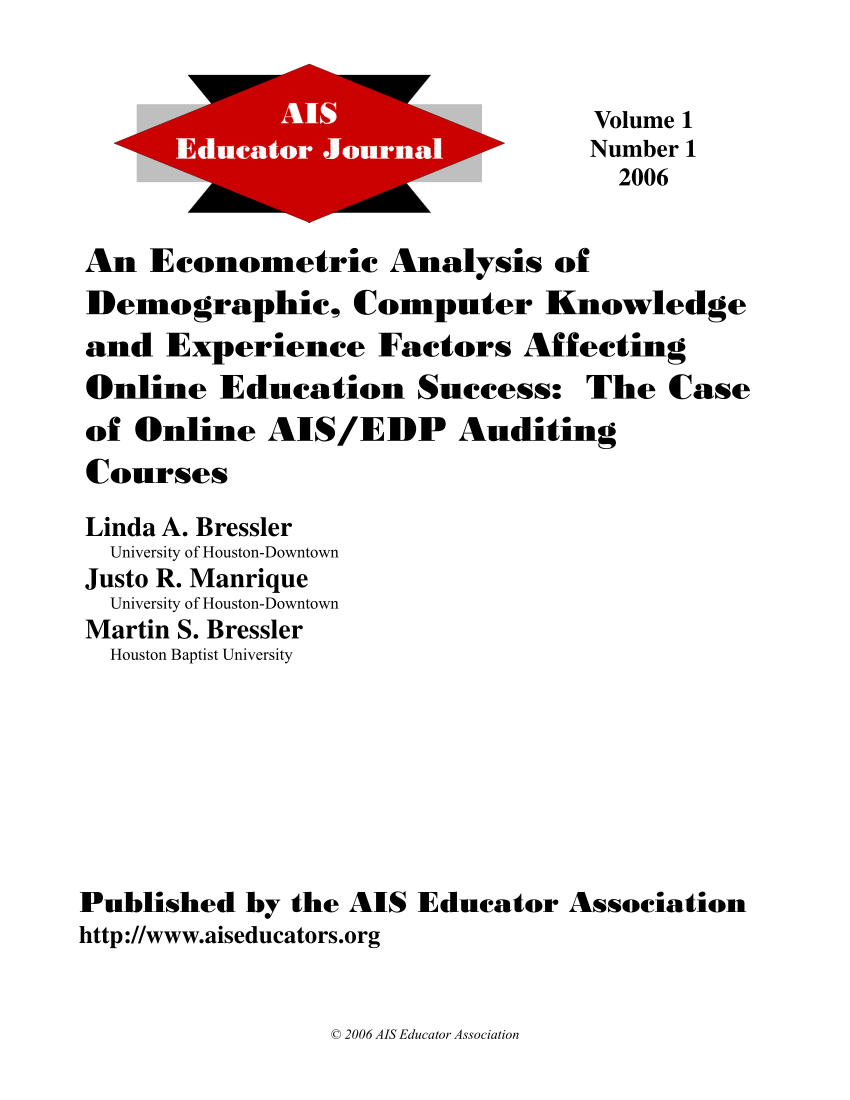 (PDF) An Economic Analysis of Demographic, Computer