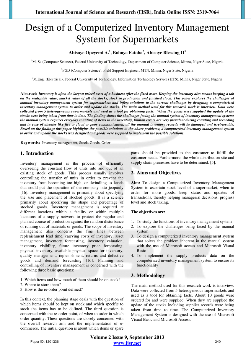 medium resolution of  pdf design of a computerized inventory management system for supermarkets