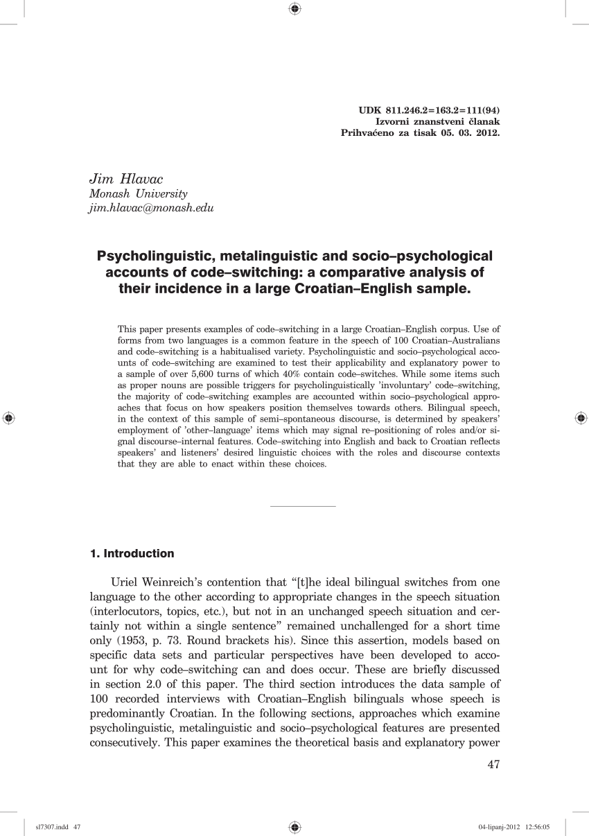 medium resolution of  pdf psycholinguistic metalinguistic and socio psychological accounts of code switching a comparative analysis of their incidence in a large