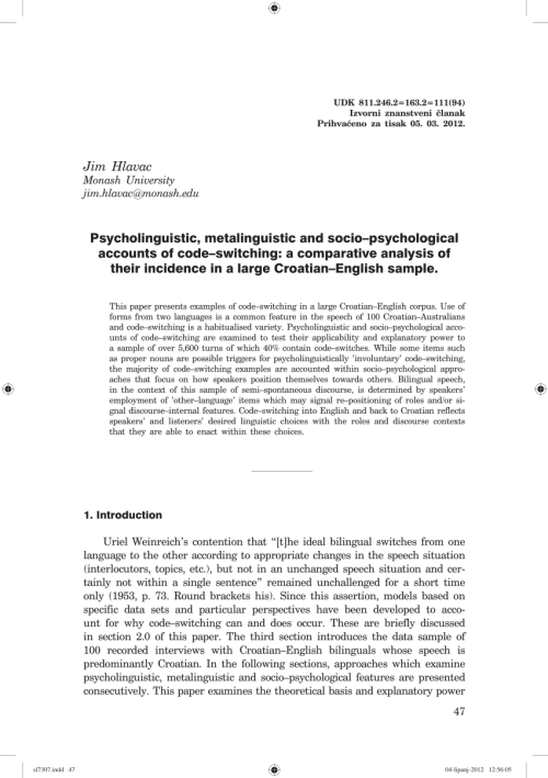 small resolution of  pdf psycholinguistic metalinguistic and socio psychological accounts of code switching a comparative analysis of their incidence in a large
