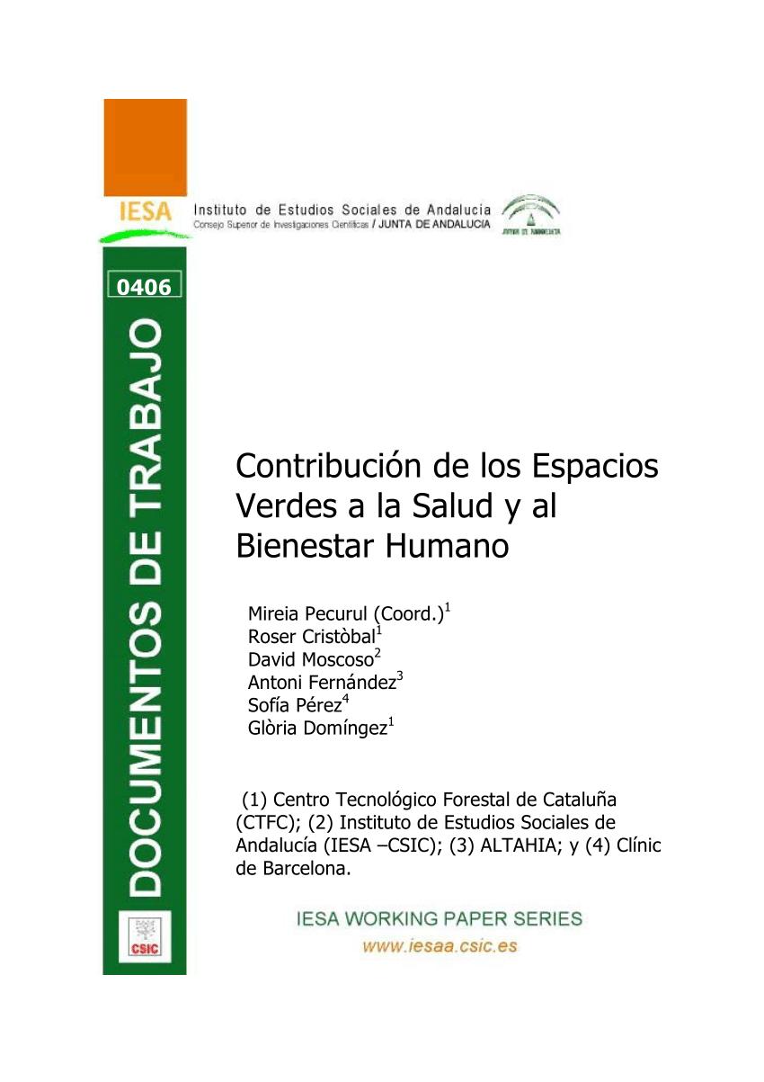 PDF Contribucin de los Espacios Verdes a la Salud y al